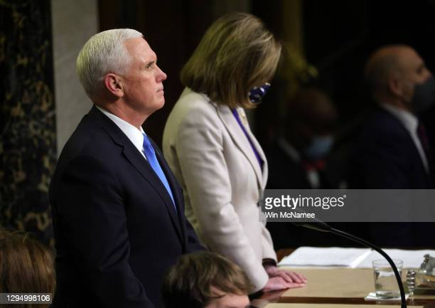 Vice President Mike Pence looks on in the House Chamber during a reconvening of a joint session of Congress on January 07, 2021 in Washington, DC....