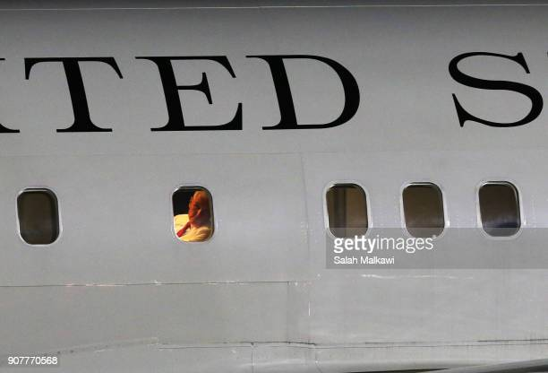 S Vice President Mike Pence looks out the window as he arrives at Marka airport onJanuary 20 in Amman Jordan Pence is on a Middle East tour...