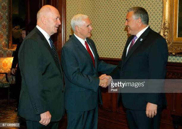 S Vice President Mike Pence meets Joe Hockey Australia's Ambassador to the US introduced by Australia's GovernorGeneral Peter Cosgrove at Admiralty...