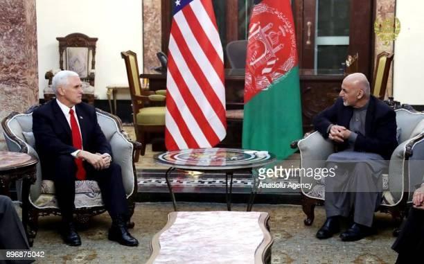 US Vice President Mike Pence meets with Afghan President Ashraf Ghani in Kabul Afghanistan on December 22 2017