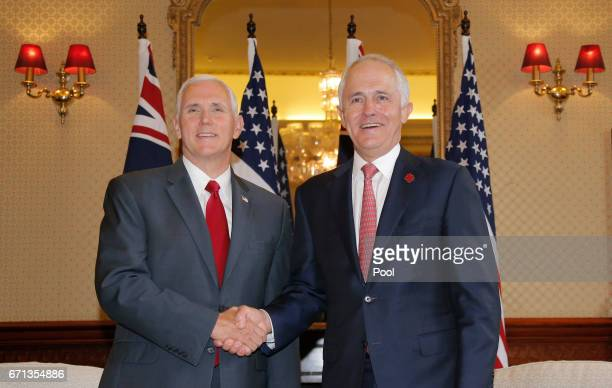 S Vice President Mike Pence meets with Australia's Prime Minister Malcolm Turnbull at Admiralty House on April 22 2017 in Sydney Australia Mr Pence...