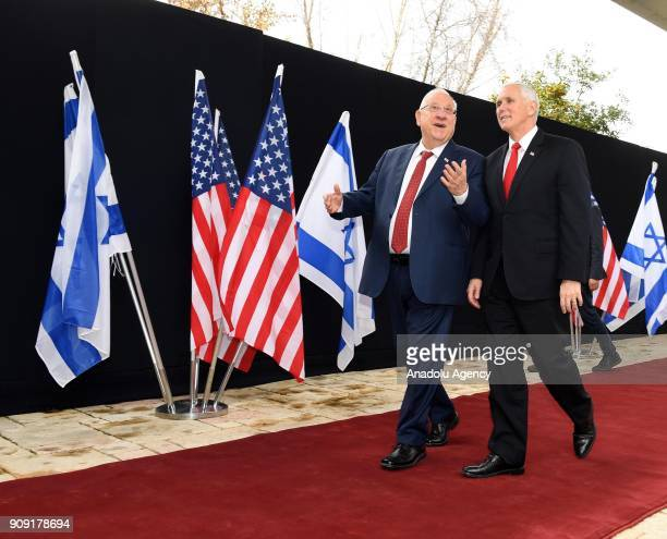 US Vice President Mike Pence meets with Israeli President Reuven Rivlin in Jerusalem on January 23 2018