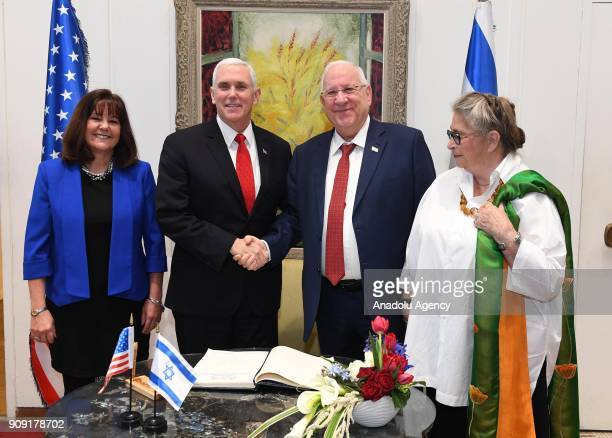 US Vice President Mike Pence meets with Israeli President Reuven Rivlin in Jerusalem on January 23 2018 US Vice President Mike Pence's wife Karen...