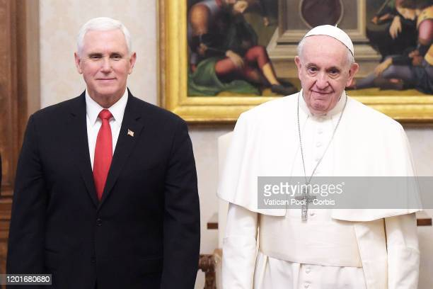 Vice President Mike Pence meets with Pope Francis, during a private audience at The Vatican on January 24, 2020 in Vatican City, Vatican.