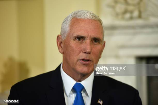 Vice President Mike Pence meets with Prime Minister Boris Johnson inside 10 Downing Street on September 5 2019 in London England Ahead of today's...