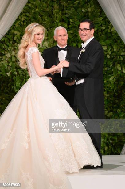 Vice President Mike Pence officiates the wedding of Louise Linton and Secretary of the Treasury Steven Mnuchin on June 24 2017 at Andrew Mellon...
