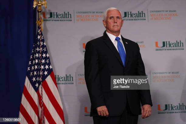 Vice President Mike Pence participates in a press conference at the the University of Miami Miller School of Medicine on July 27 2020 in Miami...