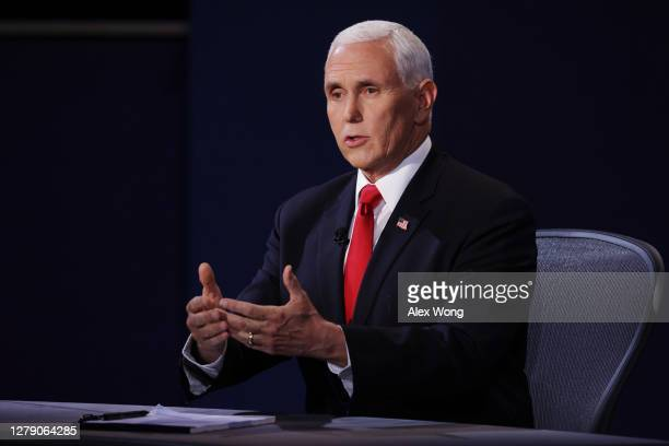 Vice President Mike Pence participates in the vice presidential debate at the University of Utah on October 7, 2020 in Salt Lake City, Utah. The vice...