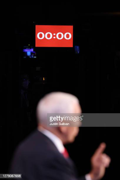 Vice President Mike Pence participates in the vice presidential debate against Democratic vice presidential nominee Sen. Kamala Harris at the...