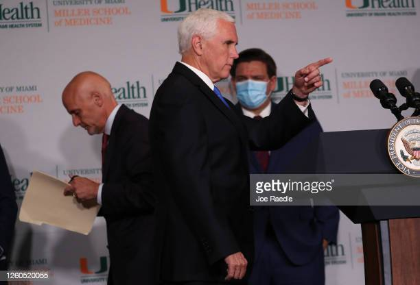 Vice President Mike Pence points during a press conference at the the University of Miami Miller School of Medicine on July 27 2020 in Miami Florida...