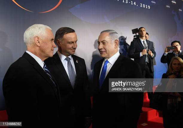 US Vice President Mike Pence Poland's President Andrzej Duda and Prime minister of Israel Benjamin Netanyahu are seen during the conference on Peace...