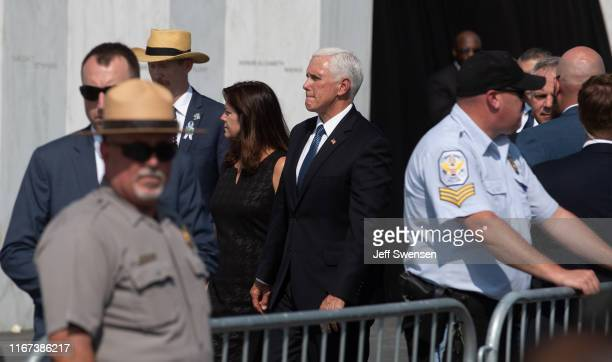 S Vice President Mike Pence prepares to place a wreath after delivering a speech at the Flight 93 National Memorial on September 11 2019 in...