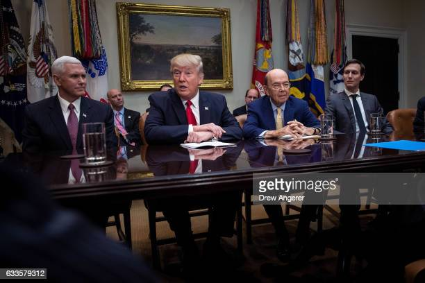 Vice President Mike Pence President Donald Trump Commerce Secretary nominee Wilbur Ross and senior advisor Jared Kushner attend a meeting with Senate...