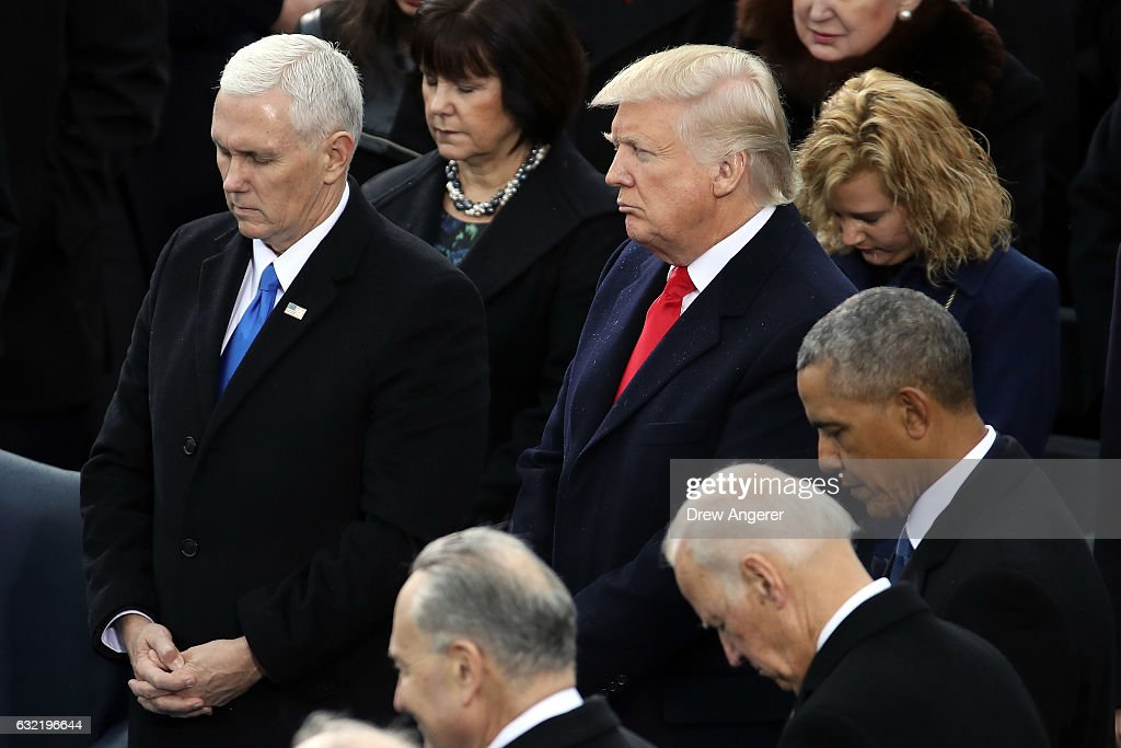 Vice President Mike Pence, President Donald Trump, former Vice President Joe Biden and former President Barack Obama listen to the inaugural program on the West Front of the U.S. Capitol on January 20, 2017 in Washington, DC. In today's inauguration ceremony Donald J. Trump becomes the 45th president of the United States.