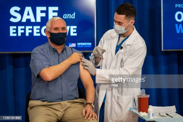 Vice President Mike Pence receives a COVID-19 vaccine to promote the safety and efficacy of the vaccine at the White House on December 2020 in...
