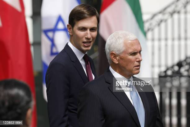Vice President Mike Pence, right, and Jared Kushner, senior White House adviser, arrive for an Abraham Accords signing ceremony on the South Lawn of...