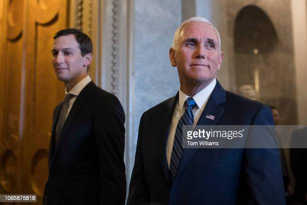 Vice President Mike Pence right and White House advisor Jared Kushner make their way to the Senate Republican policy luncheon in the Capitol on...
