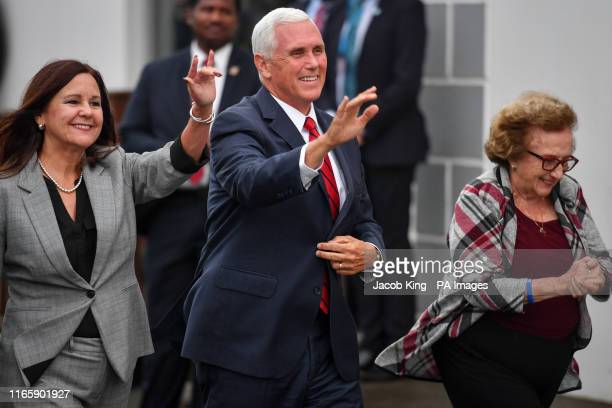 Vice President Mike Pence Second Lady Karen Pence and Pence's mother Nancy Pence Fritsch arrive in Doonbeg to visit Morriseys a seafood restaurant...