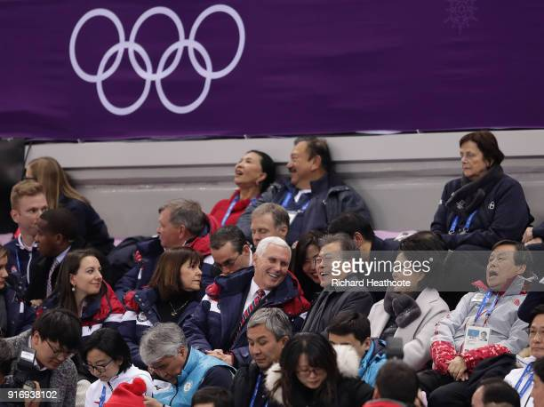 Vice President Mike Pence sits with President Moon Jai-in of South Korea at the Short Track Speed Skating on day one of the PyeongChang 2018 Winter...