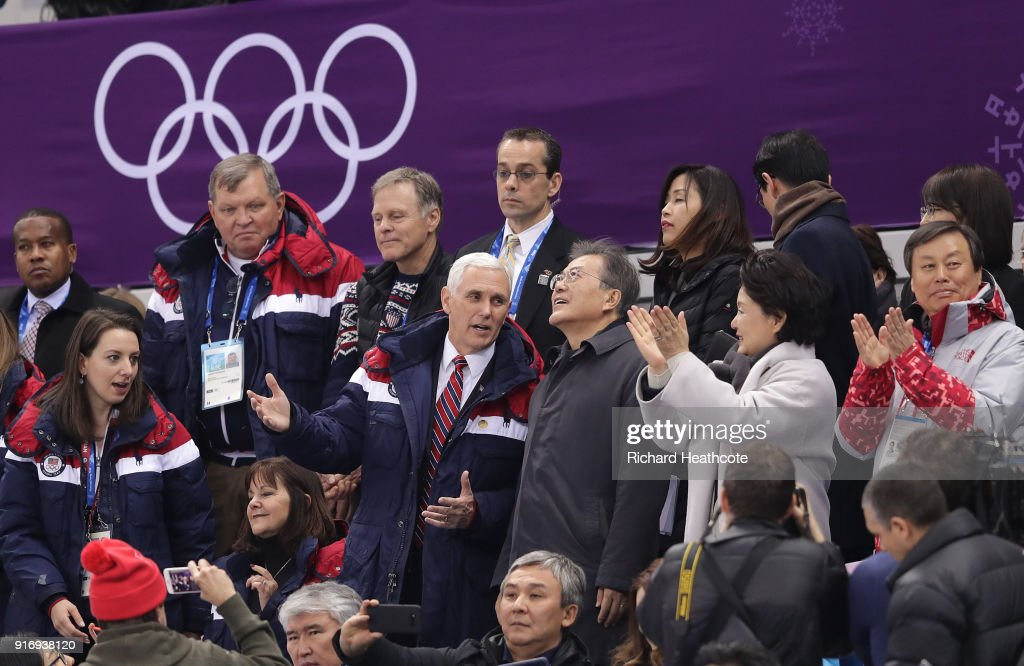 U.S. Vice President Mike Pence sits with President Moon Jai-in of South Korea at the Short Track Speed Skating on day one of the PyeongChang 2018 Winter Olympic Games at Gangneung Ice Arena on February 10, 2018 in Gangneung, South Korea.