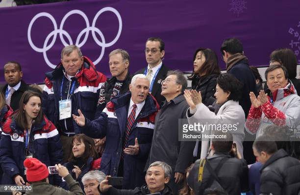 S Vice President Mike Pence sits with President Moon Jaiin of South Korea at the Short Track Speed Skating on day one of the PyeongChang 2018 Winter...