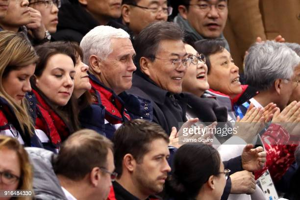 S Vice President Mike Pence sits with President Moon Jaiin of South Korea during the Ladies' 500m Short Track Speed Skating qualifying on day one of...