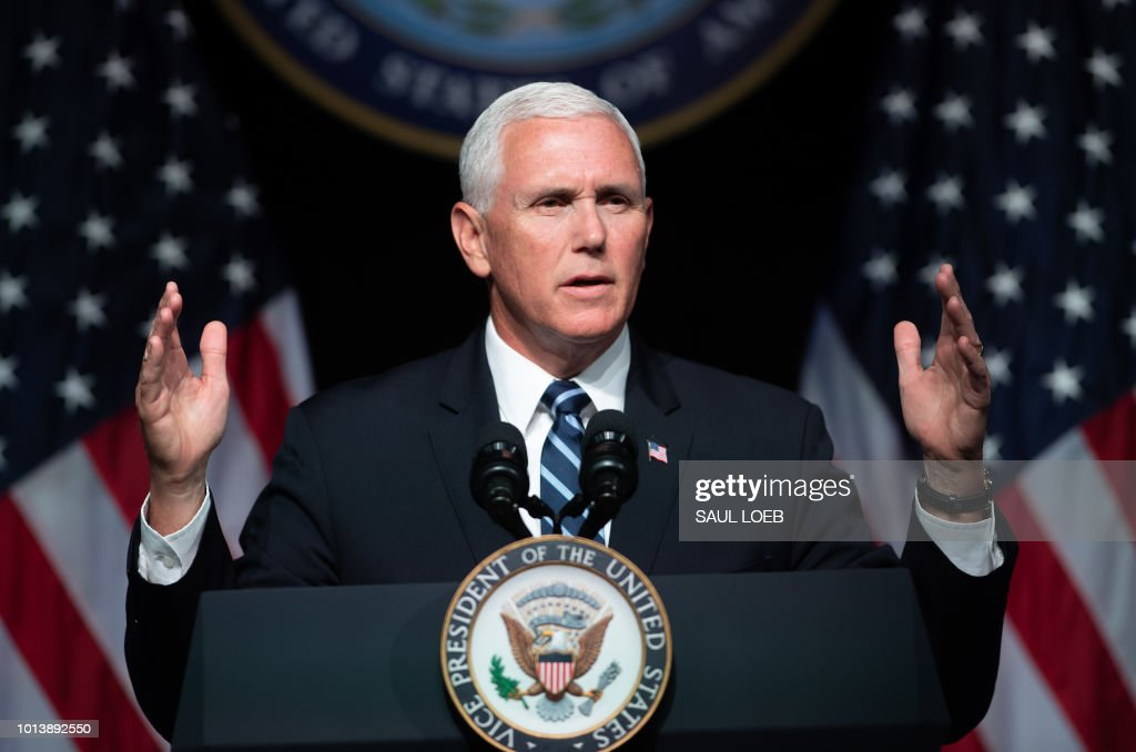 US Vice President Mike Pence speaks about the creation of a new branch of the military, Space Force, at the Pentagon in Washington, DC, on August 9, 2018.