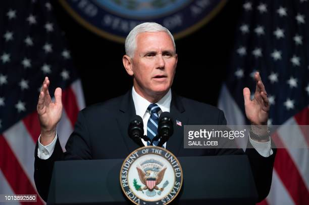 US Vice President Mike Pence speaks about the creation of a new branch of the military Space Force at the Pentagon in Washington DC on August 9 2018
