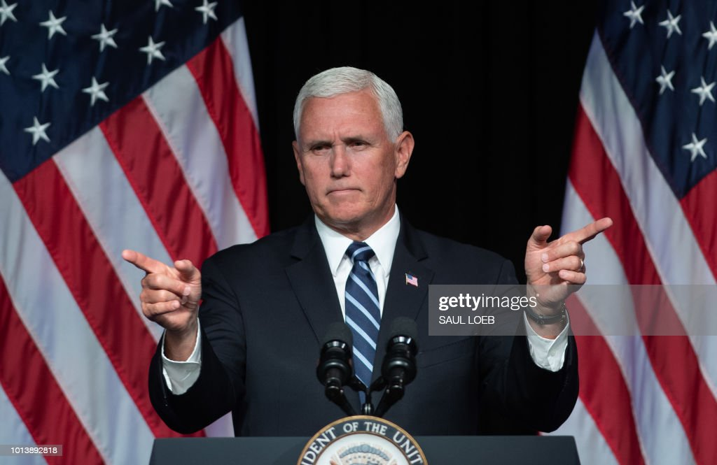 Vice President Mike Pence speaks about the creation of a new branch of the military, Space Force, at the Pentagon in Washington, DC, on August 9, 2018.