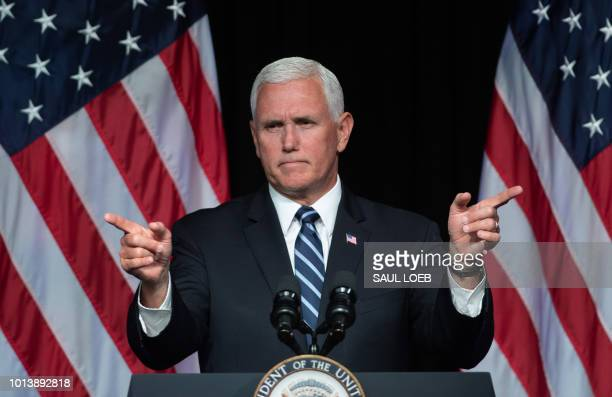 Vice President Mike Pence speaks about the creation of a new branch of the military Space Force at the Pentagon in Washington DC on August 9 2018