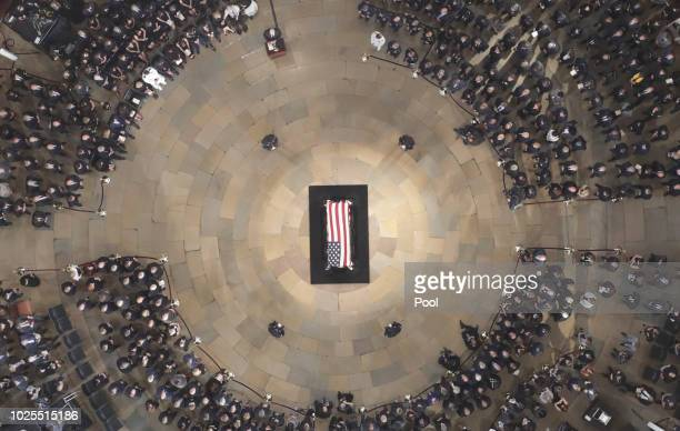 Vice President Mike Pence speaks as the late US Sen John McCain RAriz lies in state in the US Capitol Rotunda on August 31 in Washington DC The late...