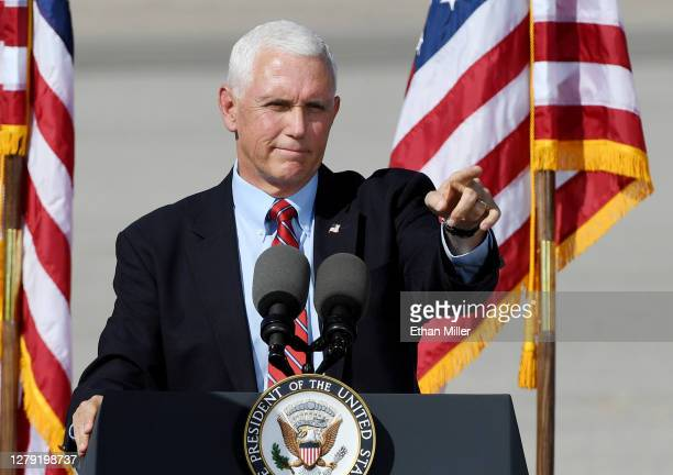 Vice President Mike Pence speaks at a rally at the Boulder City Airport on October 8, 2020 in Boulder City, Nevada. Pence has increased his...