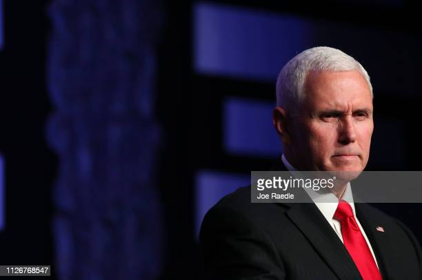 Vice President Mike Pence speaks at Iglesia Doral Jesus Worship Center after meeting with Venezuelan exiles and community leaders on February 01 2019...