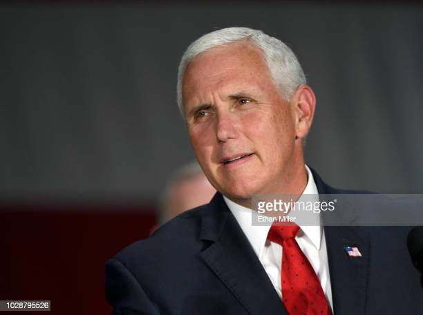 S Vice President Mike Pence speaks at Nellis Air Force Base on September 7 2018 in Las Vegas Nevada Pence is visiting Las Vegas to support US Sen...