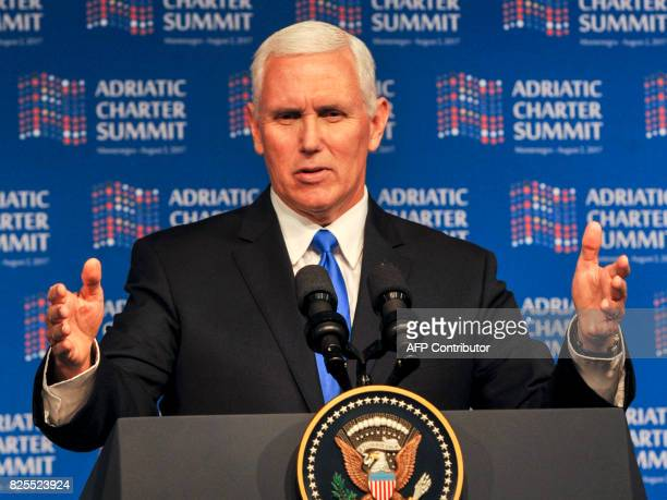 US Vice President Mike Pence speaks at the Adriatic Charter Summit in Podgorica on August 2 2017 US Vice President Mike Pence said that the future of...