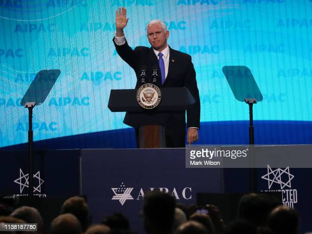 Vice President Mike Pence speaks at the annual American Israel Public Affairs Committee conference on March 25 2019 in Washington DC