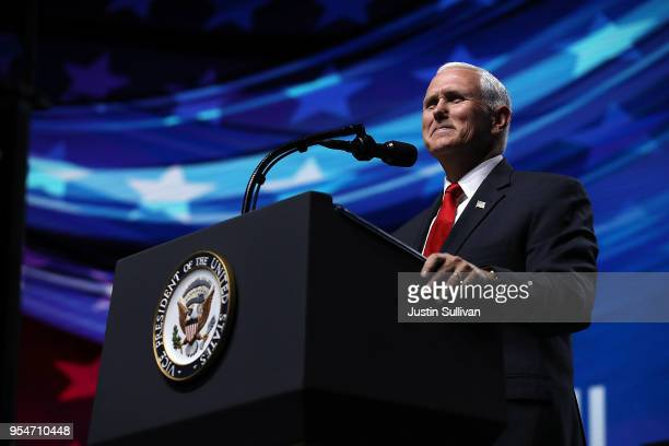 S Vice President Mike Pence speaks at the NRAILA Leadership Forum during the NRA Annual Meeting Exhibits at the Kay Bailey Hutchison Convention...