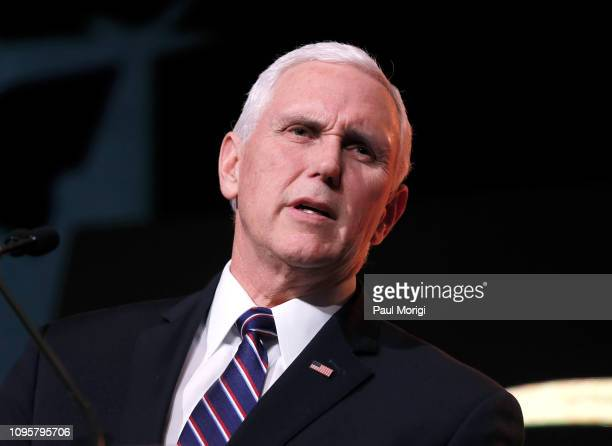 S Vice President Mike Pence speaks at the Save the Storks 2nd Annual Stork Charity Ball at the Trump International Hotel on January 17 2019 in...