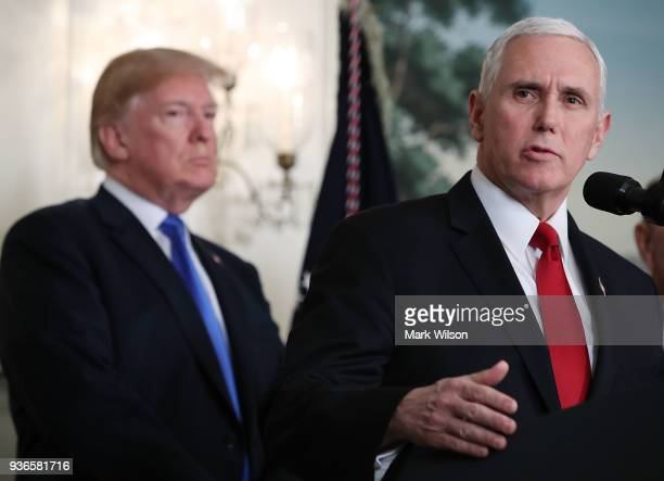 S Vice President Mike Pence speaks before US President Donald Trump signed a presidential memorandum aimed at what he calls Chinese economic...