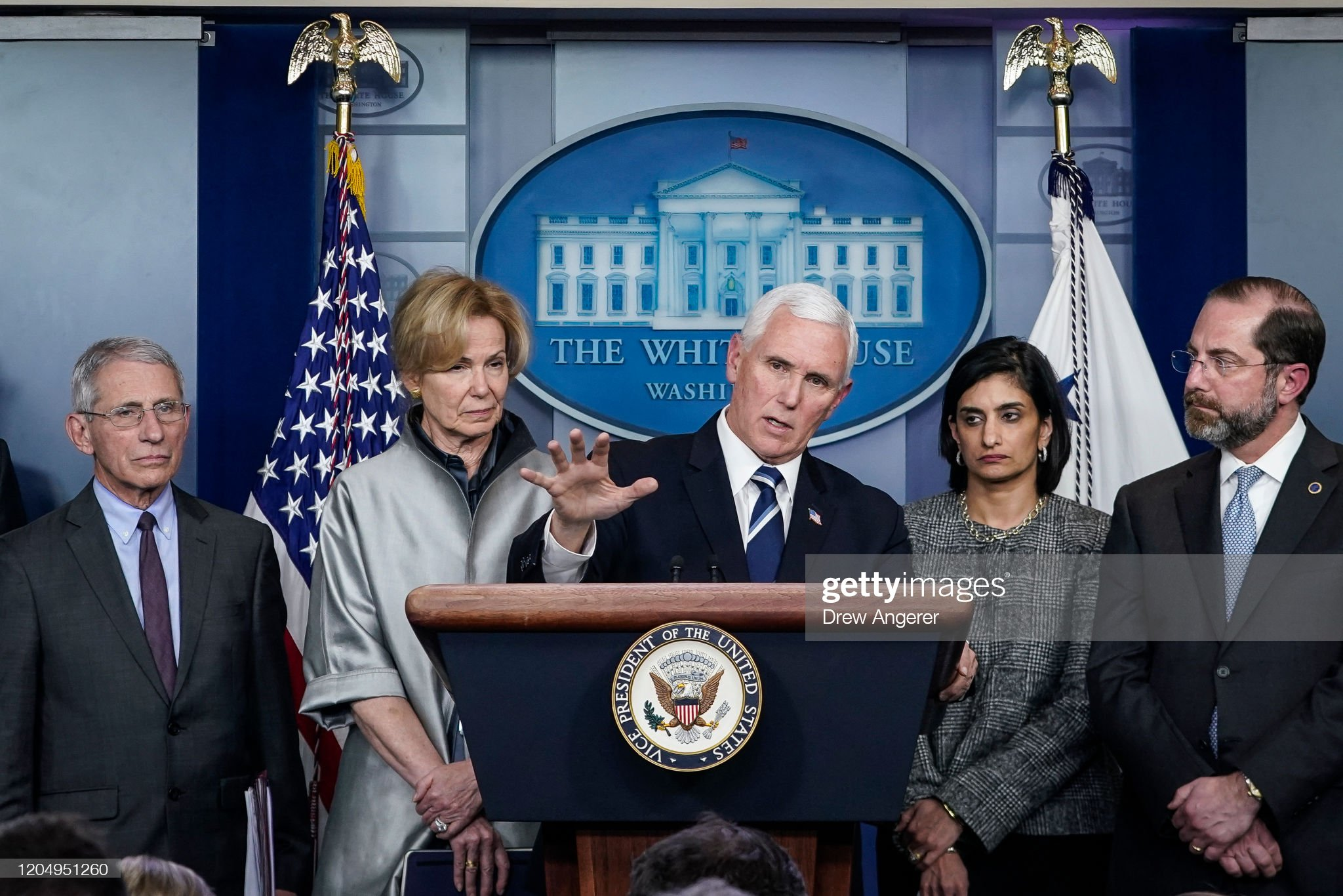 Vice President Pence And Coronavirus Response Coordinator Debbie Birx Brief Press : News Photo