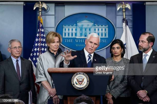 S Vice President Mike Pence speaks during a briefing on the administration's coronavirus response in the press briefing room of the White House on...