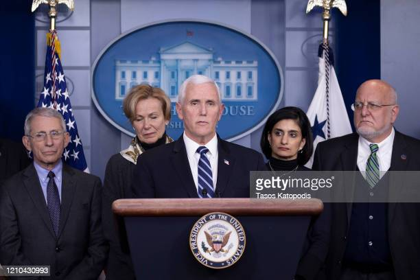 S Vice President Mike Pence speaks during a briefing on the Trump administration's coronavirus response in the press briefing room of the White House...