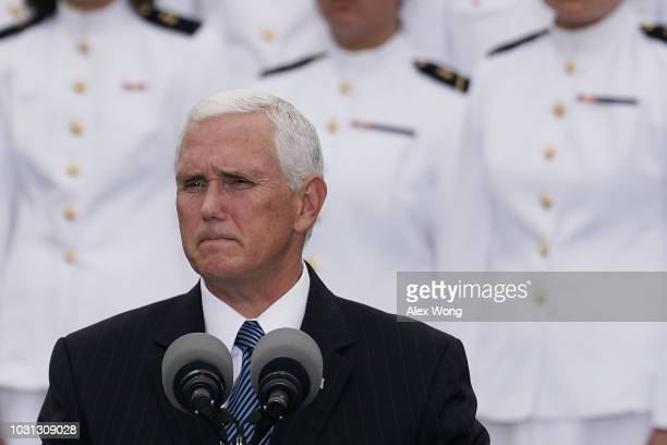 S Vice President Mike Pence speaks during a cereomy at the National 9/11 Pentagon Memorial to mark the 17th anniversary of the 9/11 terror attacks...
