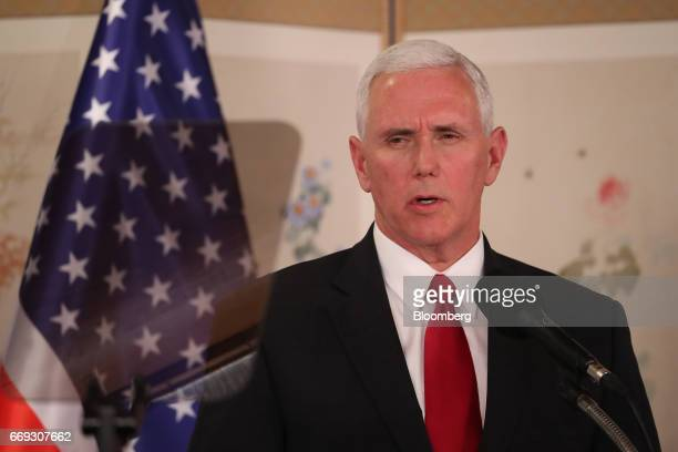 US Vice President Mike Pence speaks during a joint news conference with Hwang Kyoahn South Korea's acting president and prime minister not pictured...
