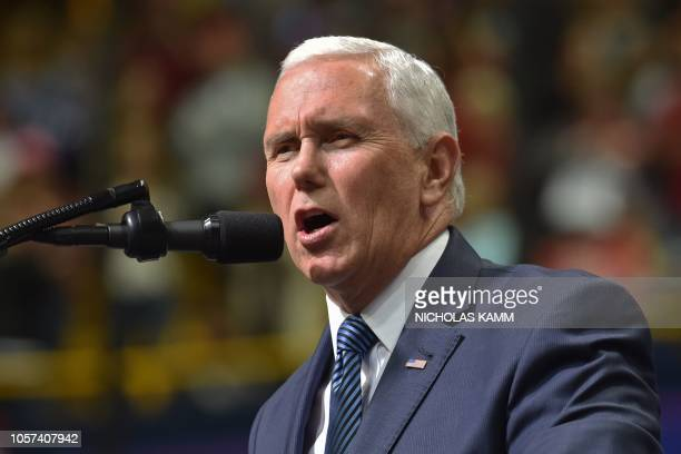 US Vice President Mike Pence speaks during a Make America Great Again campaign rally at McKenzie Arena in Chattanooga Tennessee on November 4 2018