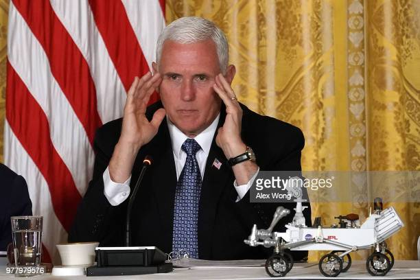 S Vice President Mike Pence speaks during a meeting of the National Space Council at the East Room of the White House June 18 2018 in Washington DC...