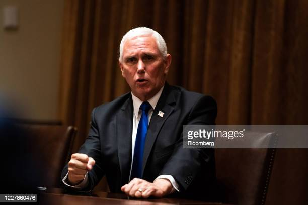 US Vice President Mike Pence speaks during a meeting with President Donald Trump and leadership from the National Association of Police Organizations...