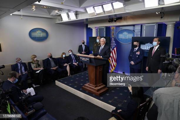 Vice President Mike Pence speaks during a news conference in the White House in Washington, D.C., U.S., on Thursday, Nov. 19, 2020. Pence said that...