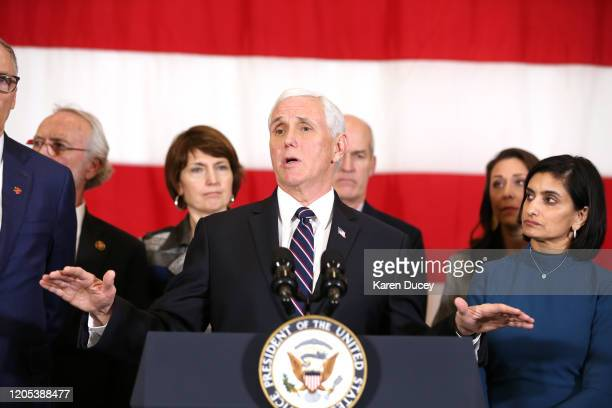 Vice President Mike Pence speaks during a news conference with Washington State Governor Jay Inslee as Seema Verma Administrator for the Centers for...