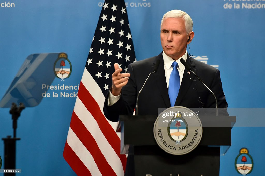 U.S. Vice President Mike Pence speaks during a press conference as part of the official visit of US Vice President Mike Pence to Buenos Aires at the Olivos Presidential Residence on August 15, 2017 in Olivos, Argentina.